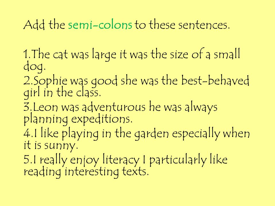 Add the semi-colons to these sentences.