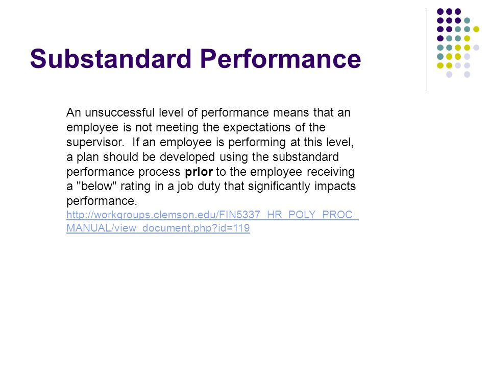 Substandard Performance