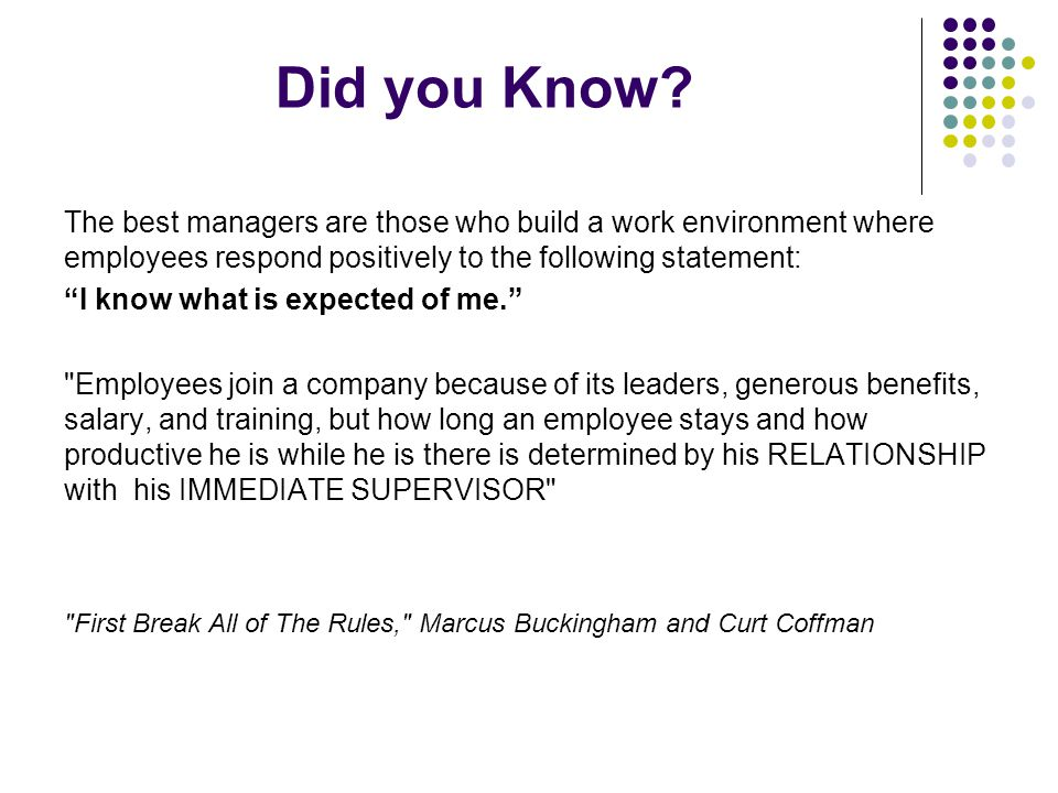 Did you Know The best managers are those who build a work environment where employees respond positively to the following statement: