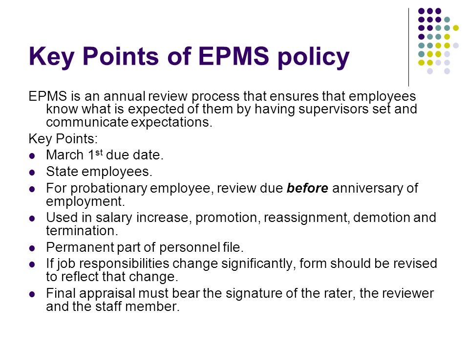 Key Points of EPMS policy