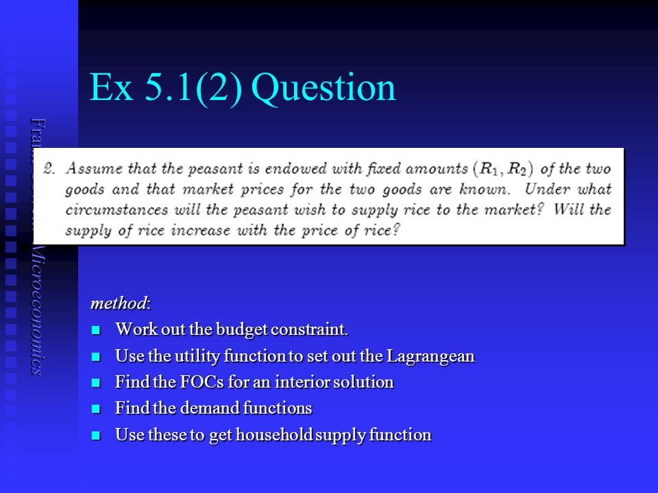 Ex 5.1(2) Question method: Work out the budget constraint.