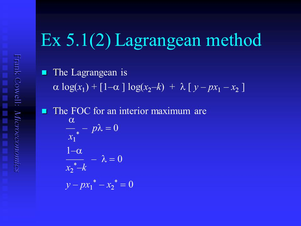 Ex 5.1(2) Lagrangean method