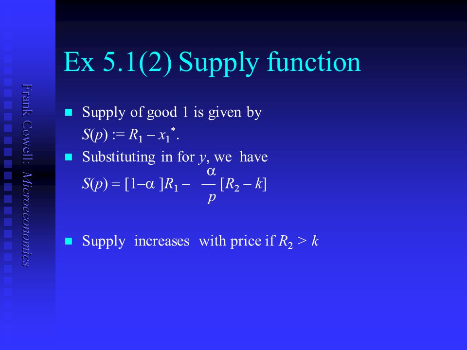 Ex 5.1(2) Supply function Supply of good 1 is given by