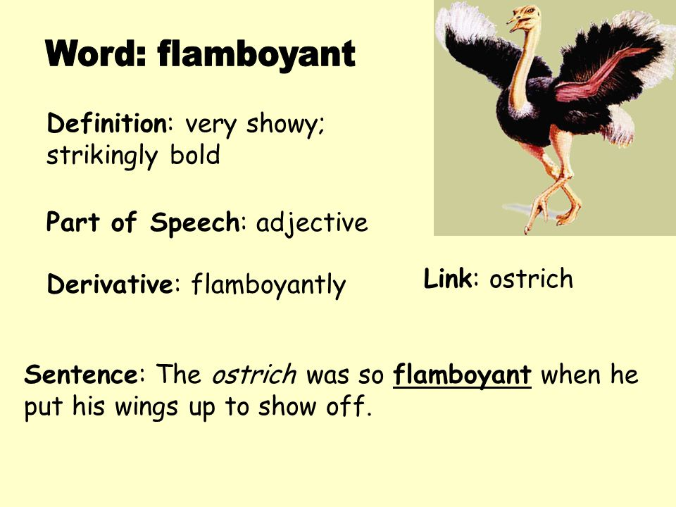 Word: flamboyant Definition: very showy; strikingly bold