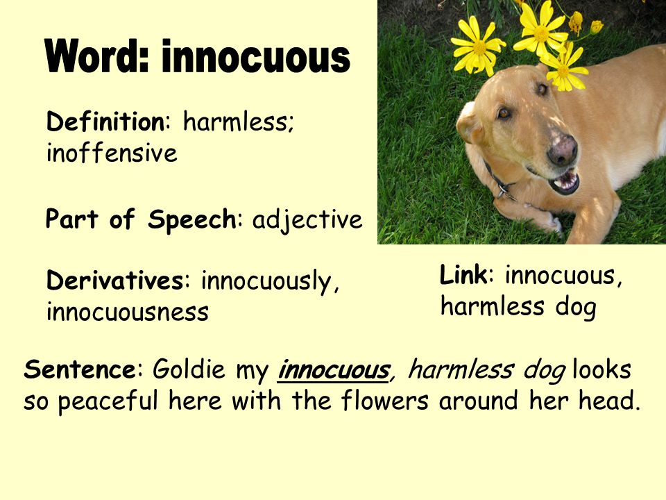 Word: innocuous Definition: harmless; inoffensive