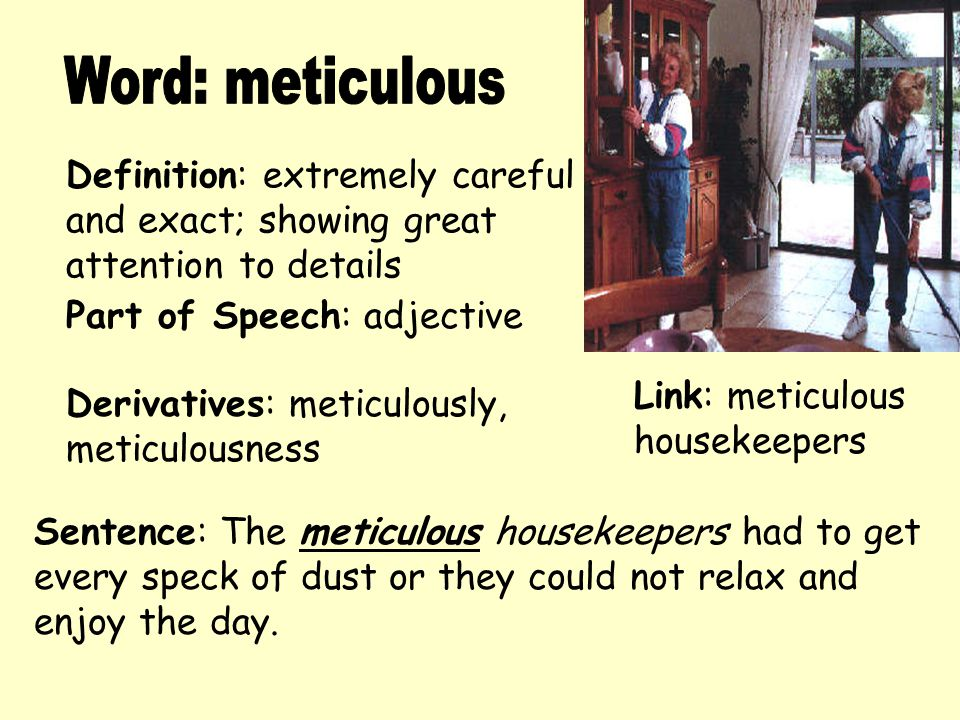Word: meticulous Definition: extremely careful