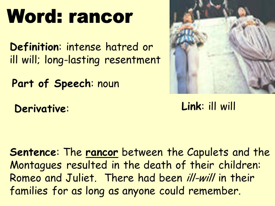 Word: rancor Definition: intense hatred or
