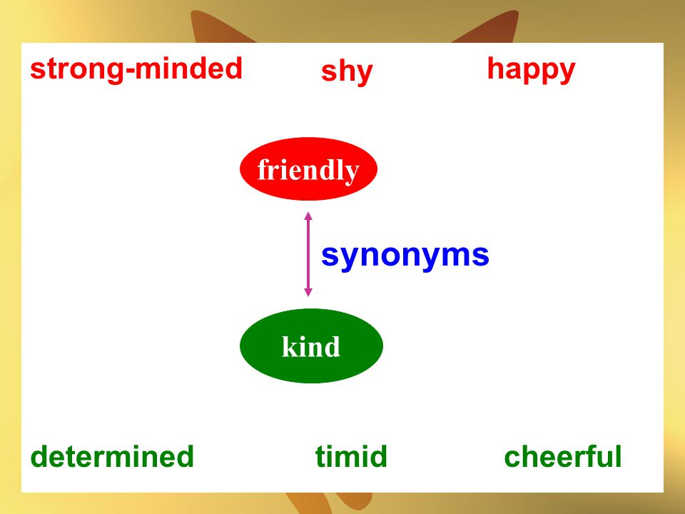 synonyms strong-minded shy happy friendly kind determined timid