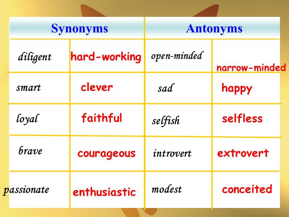 Synonyms Antonyms diligent smart sad loyal selfish brave introvert