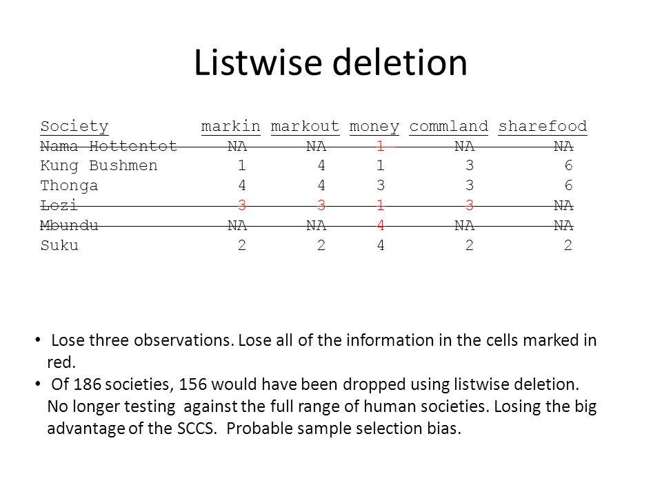 Listwise deletion