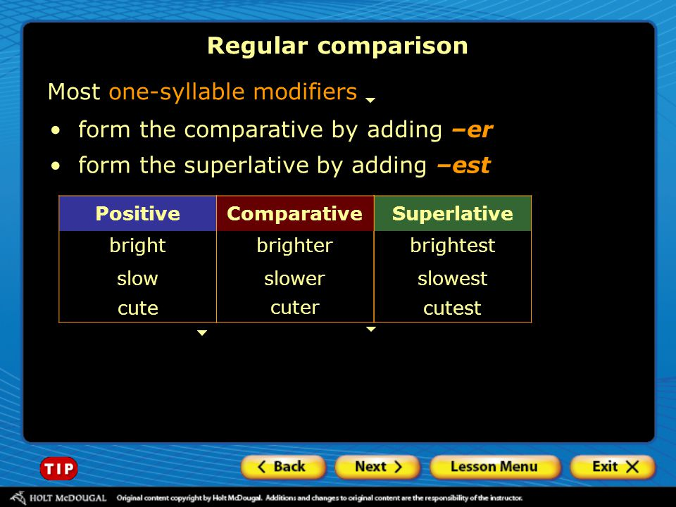 Regular comparison Most one-syllable modifiers