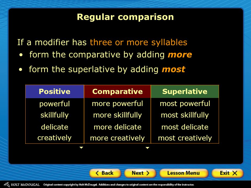 Regular comparison If a modifier has three or more syllables