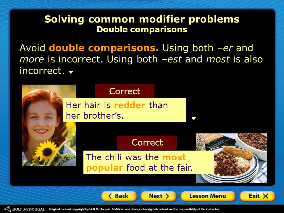 Solving common modifier problems Double comparisons