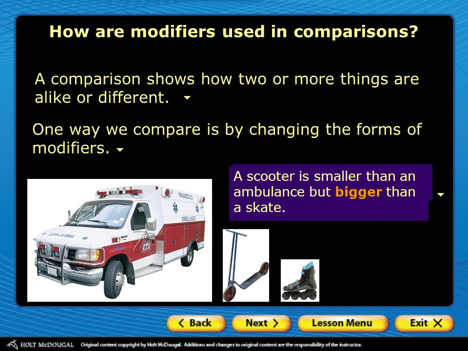 How are modifiers used in comparisons