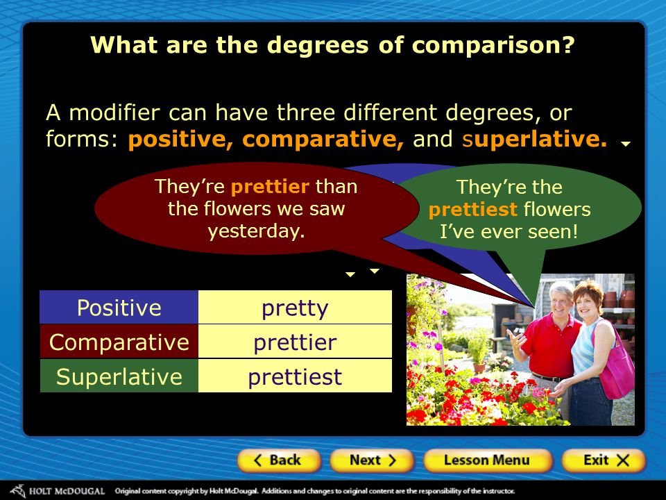What are the degrees of comparison