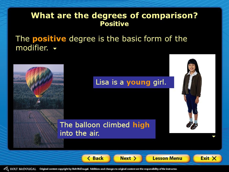 What are the degrees of comparison Positive