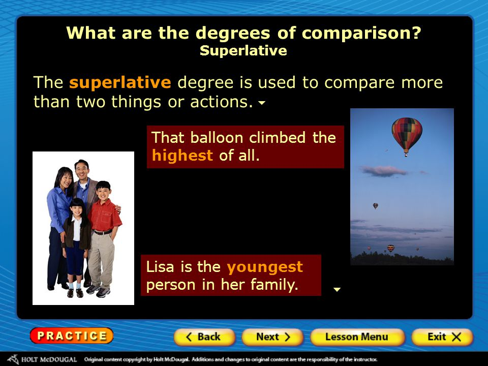 What are the degrees of comparison Superlative