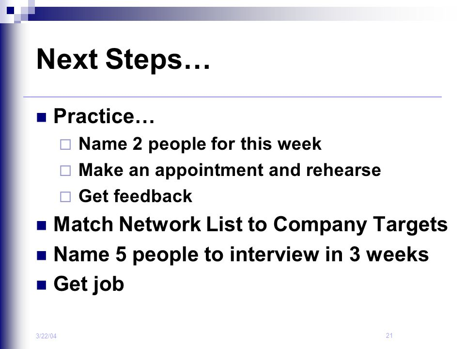 Next Steps… Practice… Match Network List to Company Targets