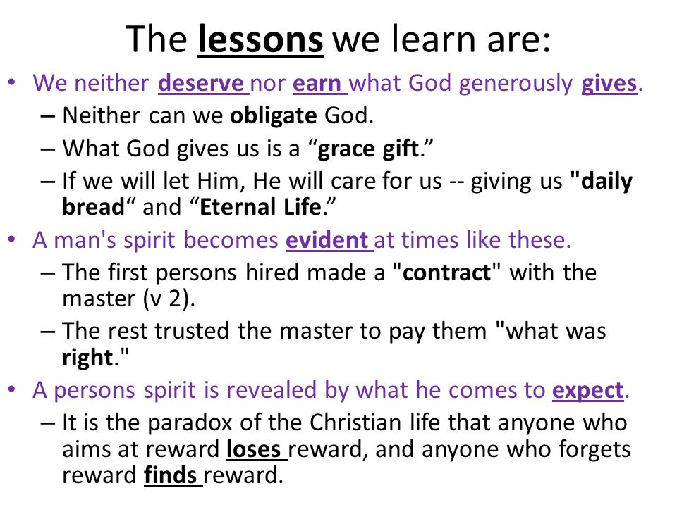 The lessons we learn are: