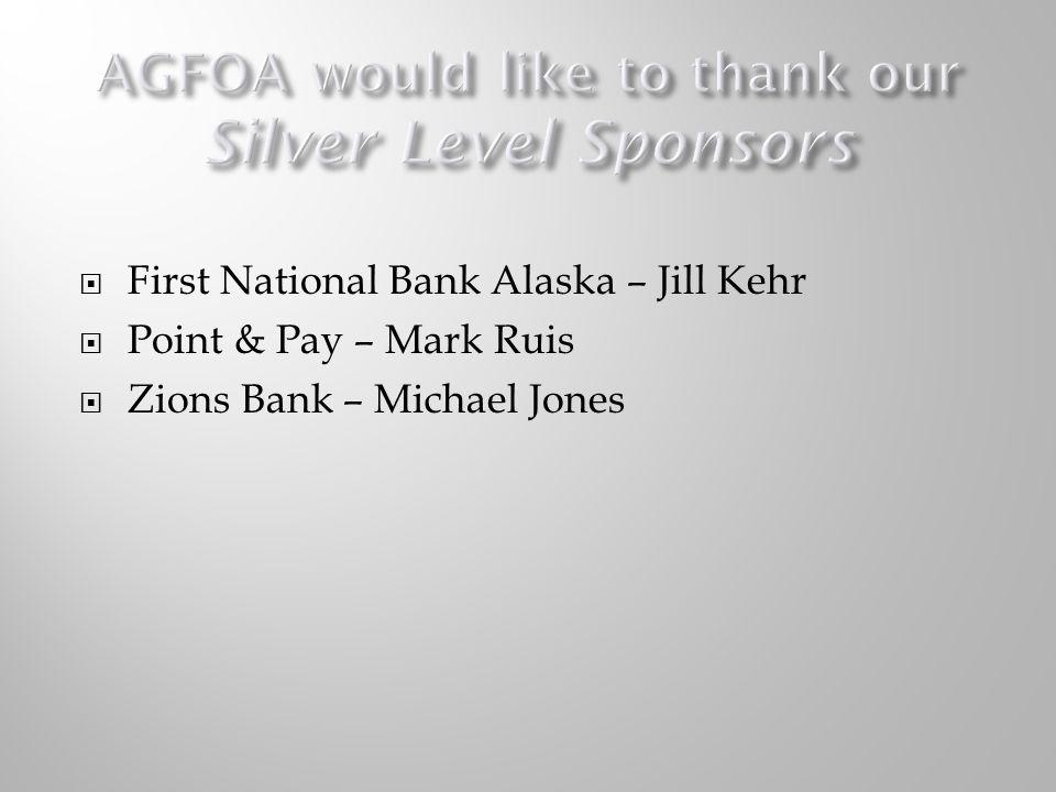AGFOA would like to thank our Silver Level Sponsors