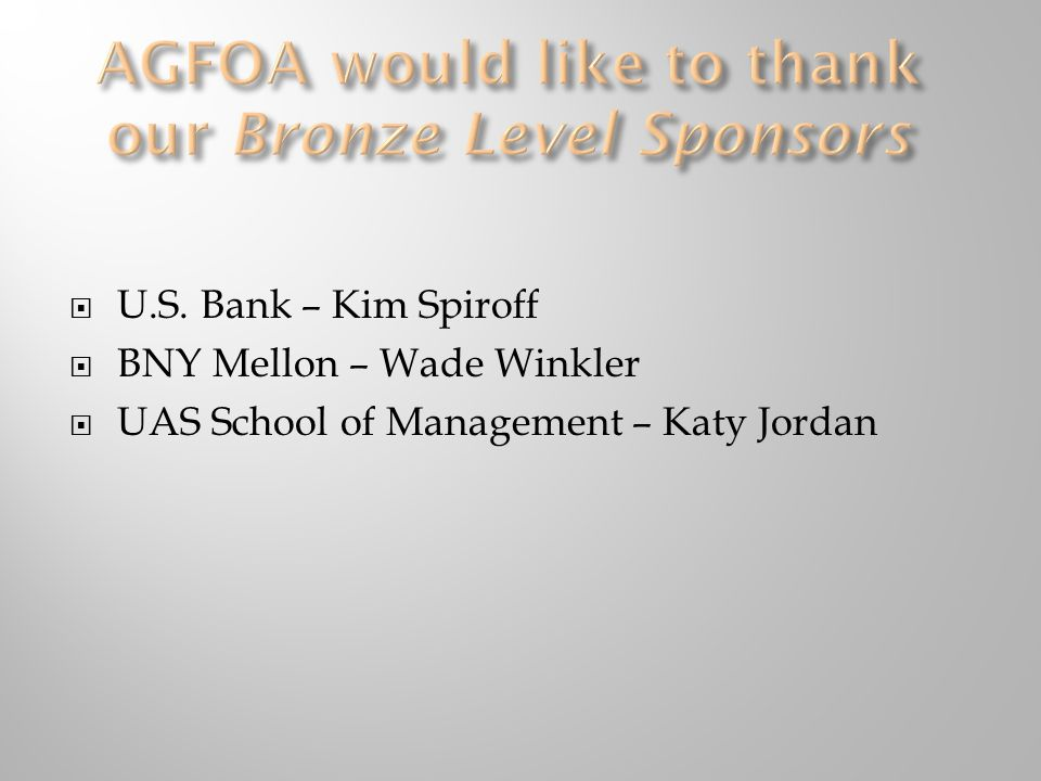 AGFOA would like to thank our Bronze Level Sponsors