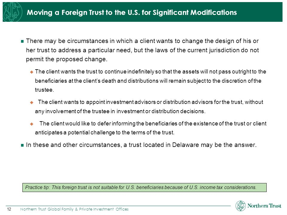 Moving a Foreign Trust to the U.S. for Significant Modifications