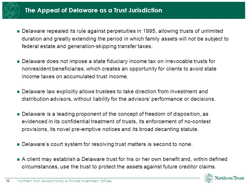 The Appeal of Delaware as a Trust Jurisdiction