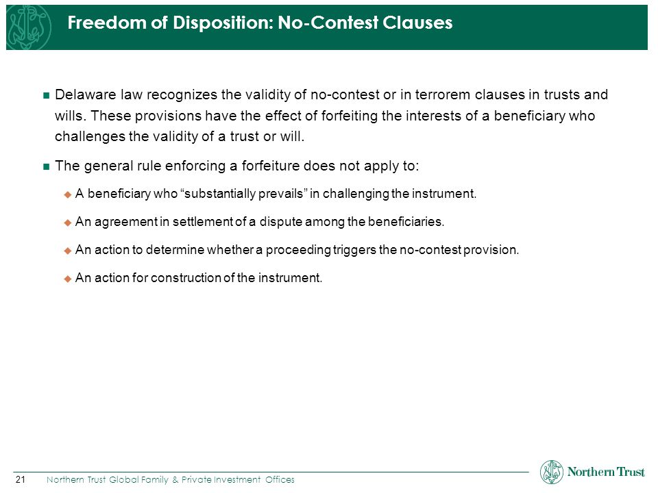 Freedom of Disposition: No-Contest Clauses