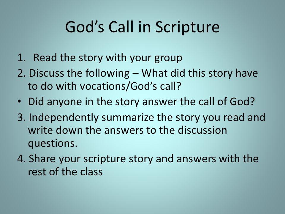 God's Call in Scripture