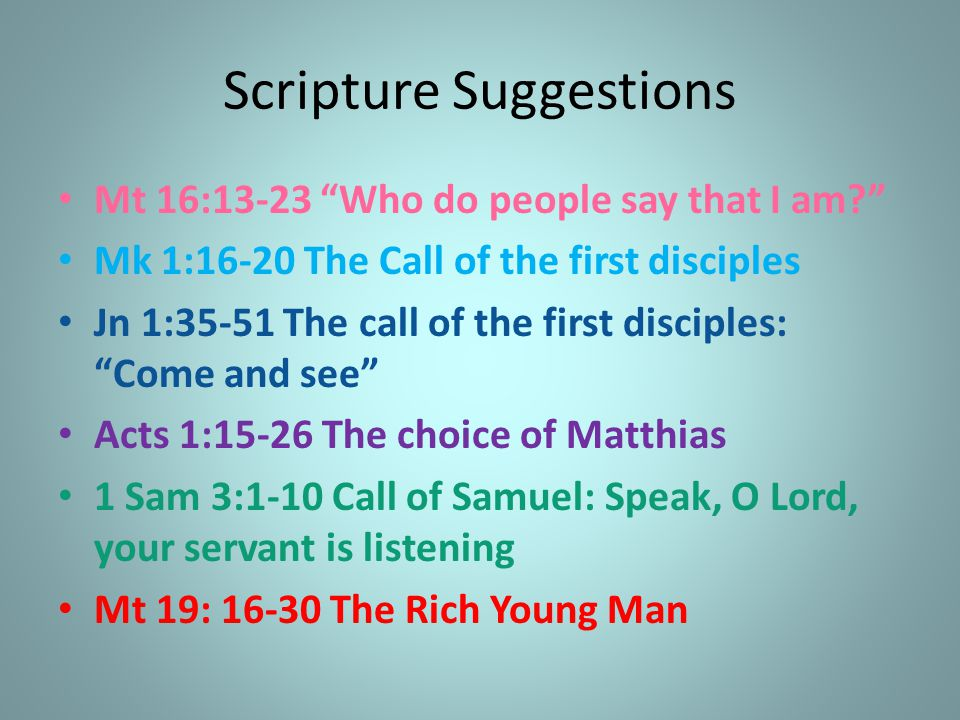 Scripture Suggestions
