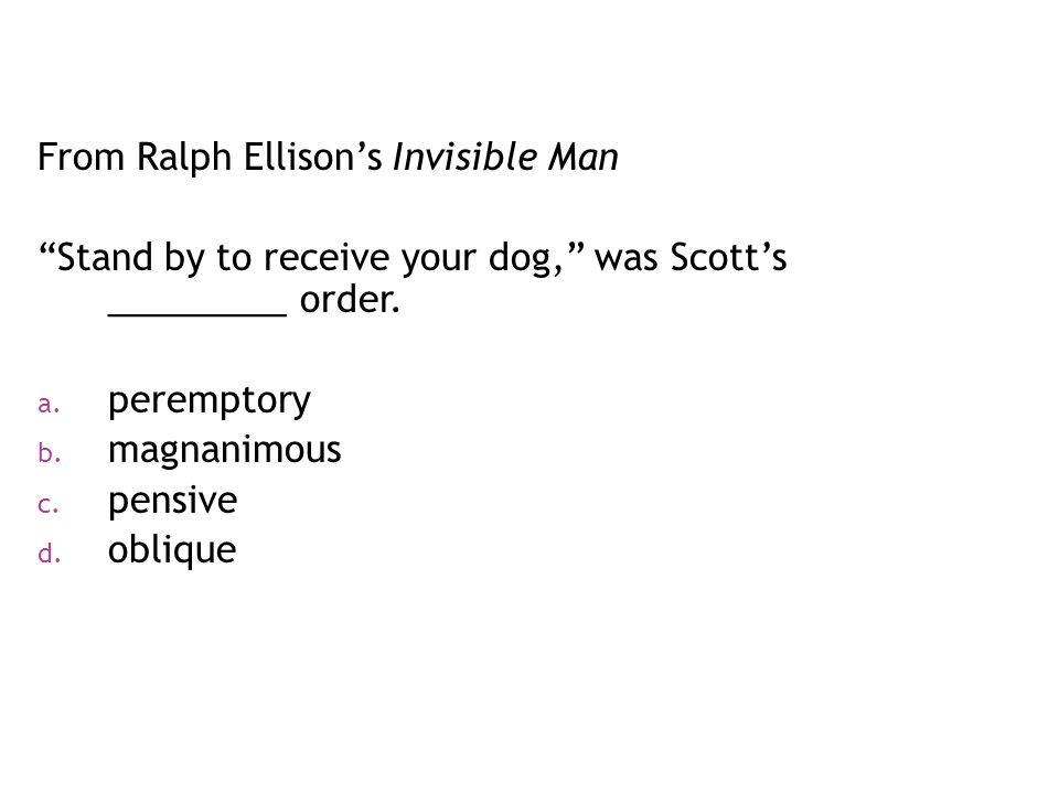 From Ralph Ellison's Invisible Man