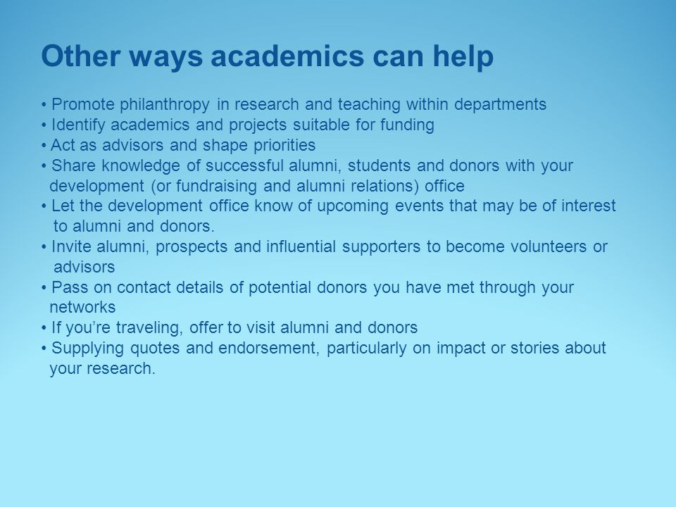Other ways academics can help
