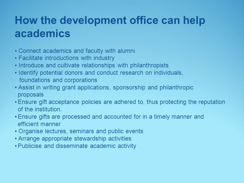 How the development office can help academics