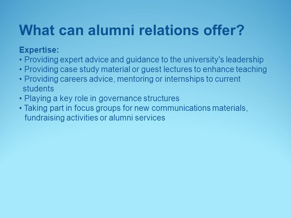 What can alumni relations offer