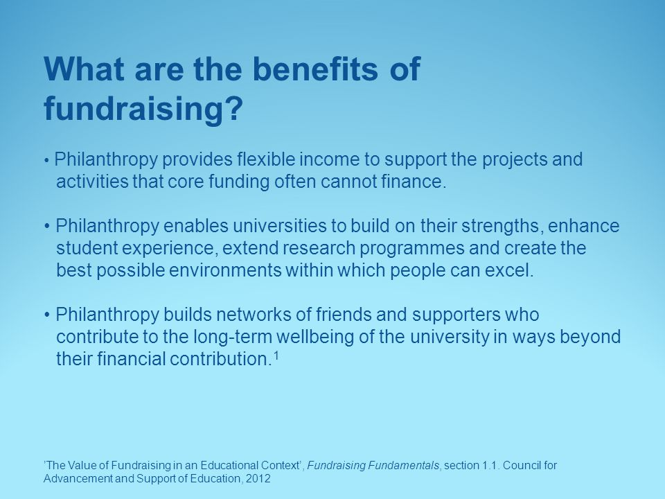 What are the benefits of fundraising
