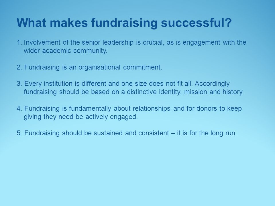 What makes fundraising successful