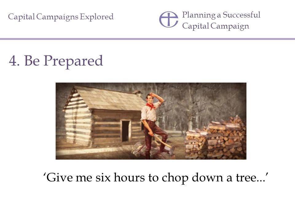 'Give me six hours to chop down a tree...'