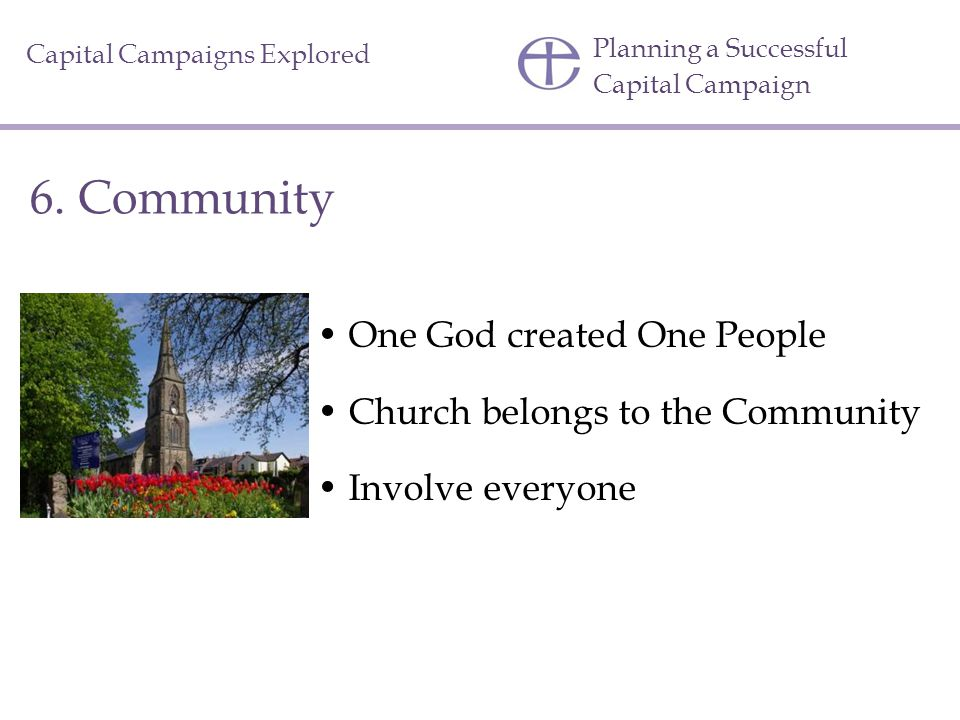 6. Community One God created One People
