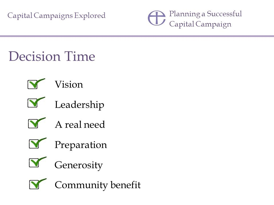 Decision Time Vision Leadership A real need Preparation Generosity