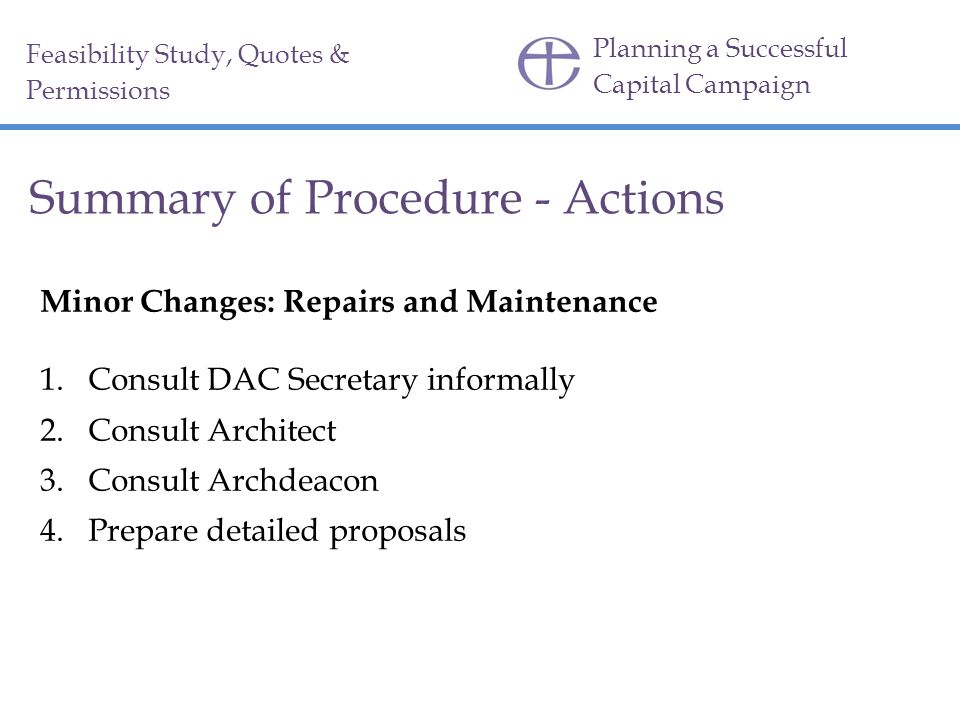 Summary of Procedure - Actions