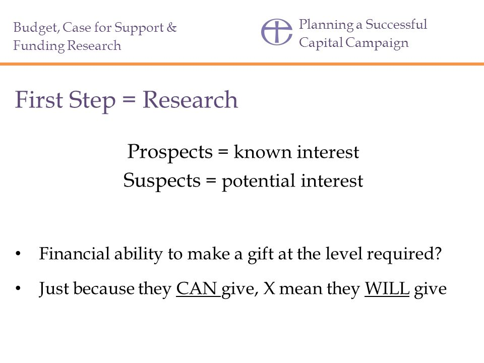 First Step = Research Prospects = known interest