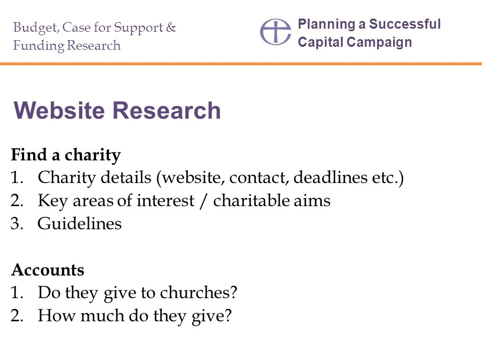 Website Research Find a charity