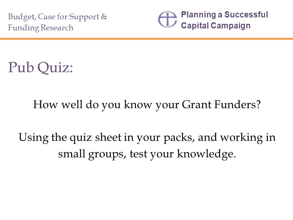 Pub Quiz: How well do you know your Grant Funders