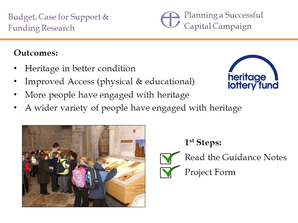 Heritage in better condition Improved Access (physical & educational)
