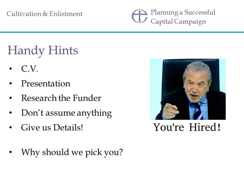 Handy Hints C.V. Presentation Research the Funder