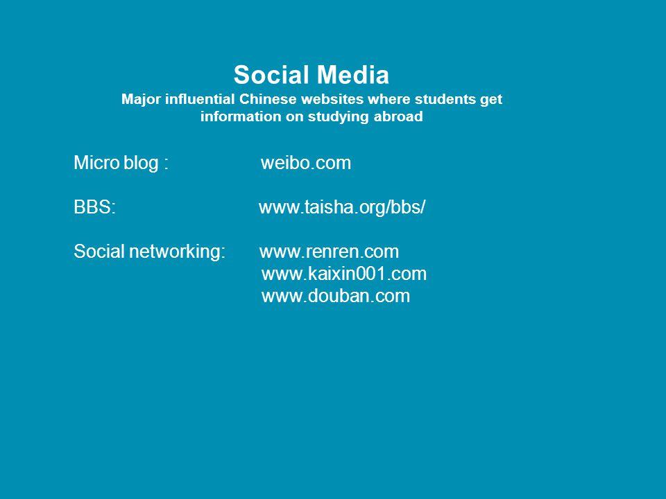 Social Media Micro blog : weibo.com BBS: www.taisha.org/bbs/