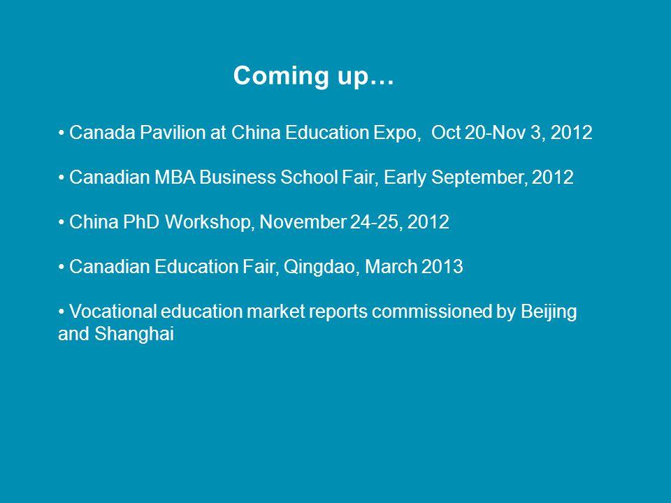 Coming up… Canada Pavilion at China Education Expo, Oct 20-Nov 3, 2012