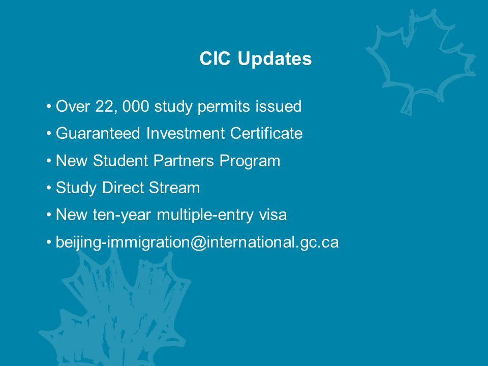 CIC Updates Over 22, 000 study permits issued