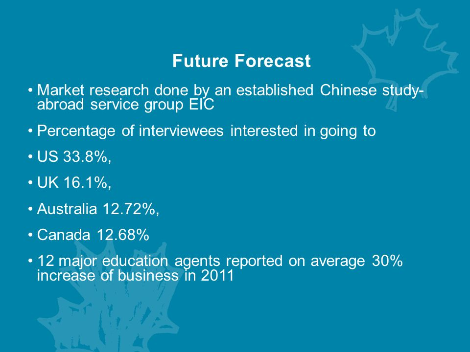 Future Forecast Market research done by an established Chinese study- abroad service group EIC. Percentage of interviewees interested in going to.