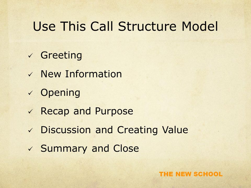 Use This Call Structure Model
